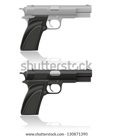 silver and black automatic pistol illustration isolated on white background