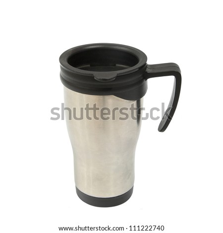 Silver and black thermos cup with holder isolated on white background - stock photo