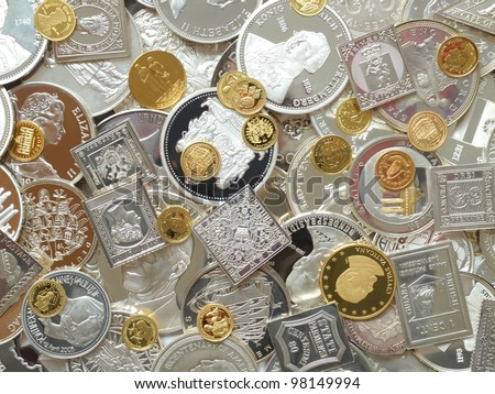 silver and gold - stock photo