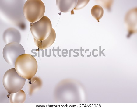 silver and gold balloons on light background - stock photo
