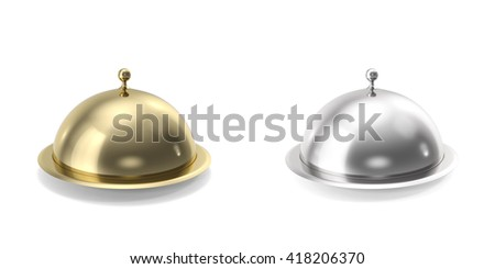 Silver and gold closeed cloche on white background. 3d illustration - stock photo