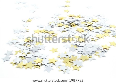 Silver and Gold conefetti stars on a white background - stock photo