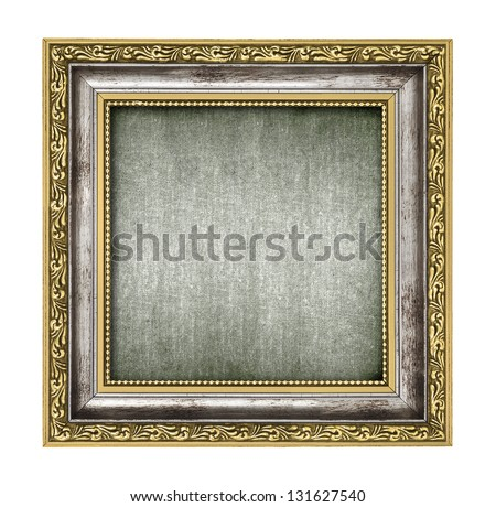silver and gold frame with canvas interior isolated on white - stock photo