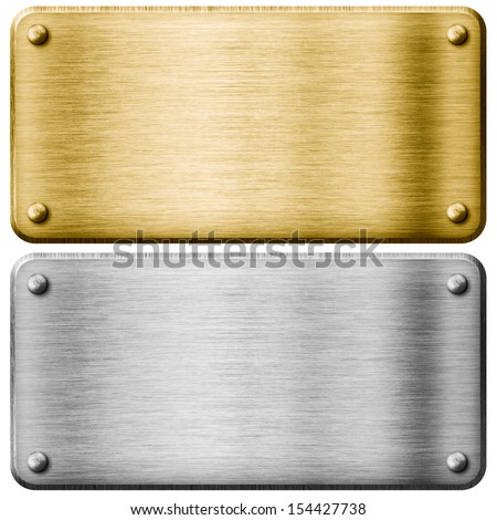 Silver and gold metal plates isolated - stock photo