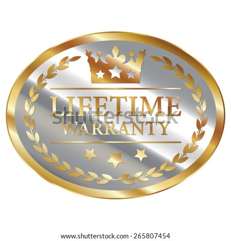 Silver and Gold Metallic Oval Shape Lifetime Warranty Label, Sticker, Banner, Sign or Icon Isolated on White Background - stock photo