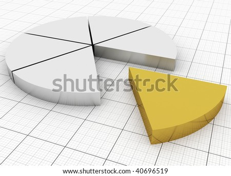 Silver and Gold Pie chart - stock photo