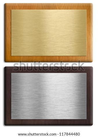 Silver and gold wooden plaques isolated on white set. Clipping paths are included. - stock photo