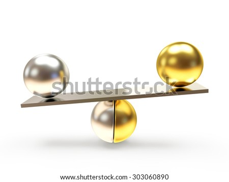 Silver and golden balls in the balance on seesaw isolated on white background - stock photo