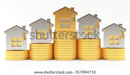 Silver and golden houses on stacks of coins isolated on white background