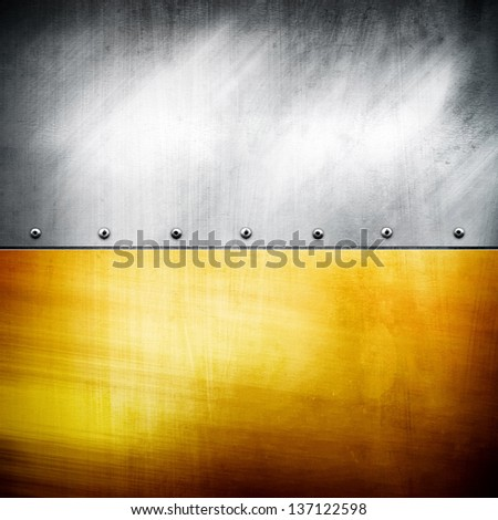 silver and golden plate - stock photo
