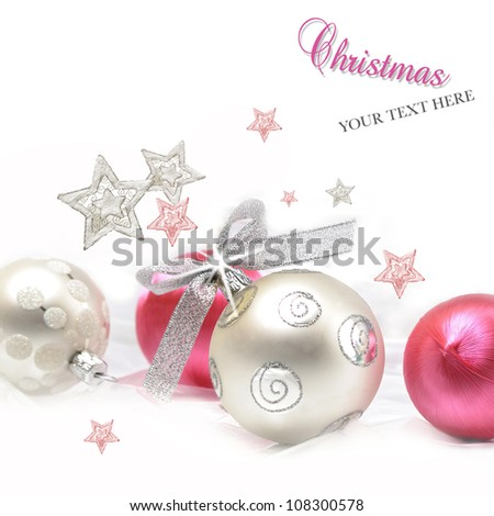 Silver and pink Christmas ball baubles with stars - stock photo