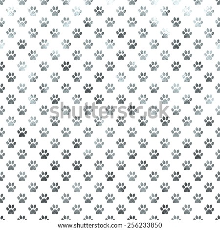 Silver and White Dog Paws Metallic Foil Polka Dot Texture Background Pattern  - stock photo