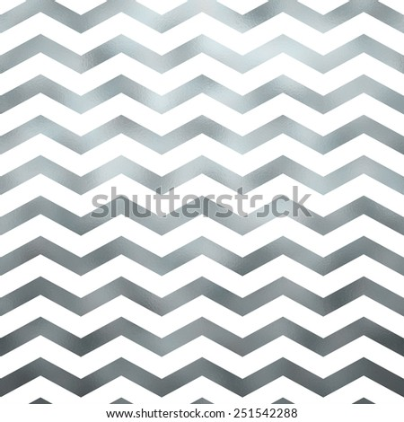 Silver and White Faux Foil Grey Metallic Chevron Pattern Chevrons Texture Zig Zag Background - stock photo