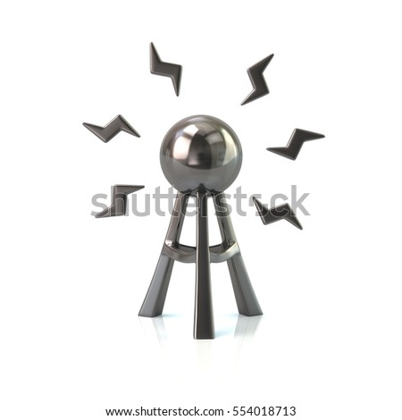 Silver antenna tower icon 3d rendering on white background