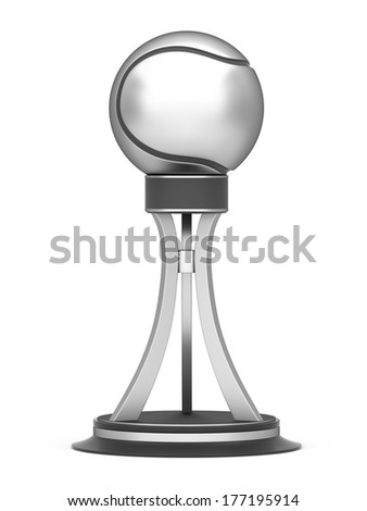 Silver award tennis ball trophy cup isolated on a white background - stock photo