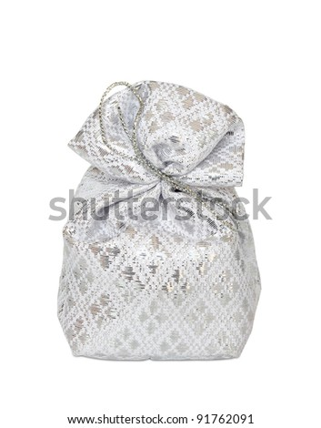 Silver bag in white background.