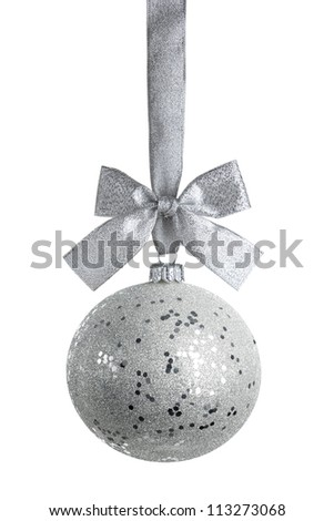 silver ball isolated on white background with precise clipping path - stock photo