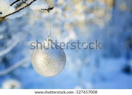 Silver ball on  branch in the snow-covered wood. Christmas background