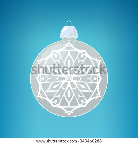 Silver Ball with Snowflake , Christmas Ball  on a Blue Background , Christmas Tree Decoration,  Merry Christmas and Happy New Year - stock photo