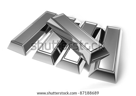 Silver bars - stock photo