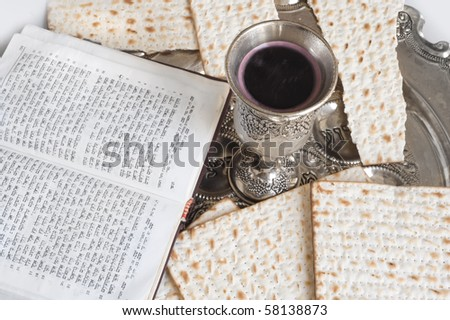 silver beaker with red wine and mazot - stock photo