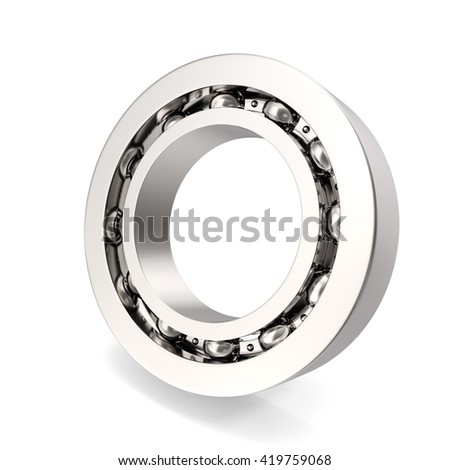 Silver bearing on white background with shadow. 3d illustration - stock photo