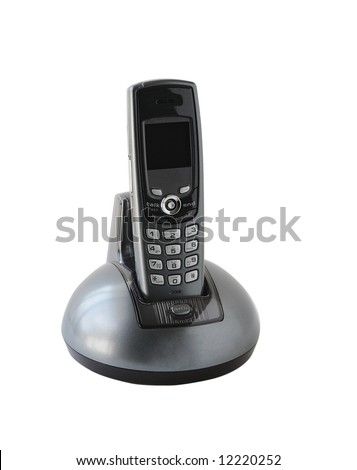 Silver black table cordless phone