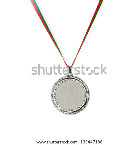 Silver blank medal isolated on white - stock photo