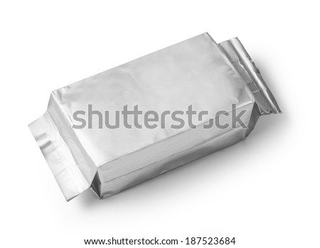 silver blank package on white background including clipping path - stock photo