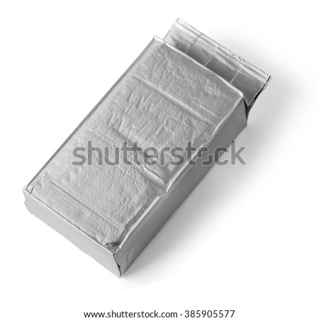 silver blank package on white background including clipping path