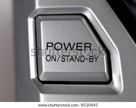 Silver Boom Box Stereo power button - stock photo