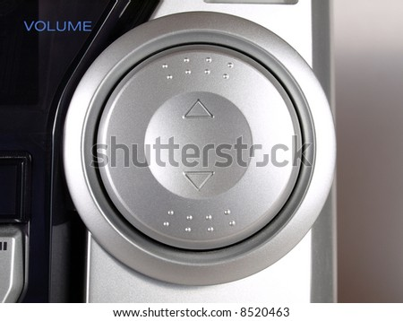 Silver Boom Box Stereo volume button - stock photo