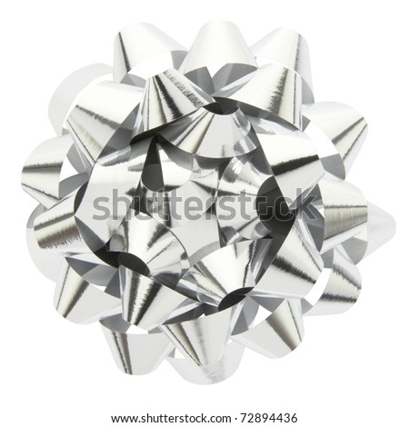 Silver bow isolated on white background, clipping path included - stock photo