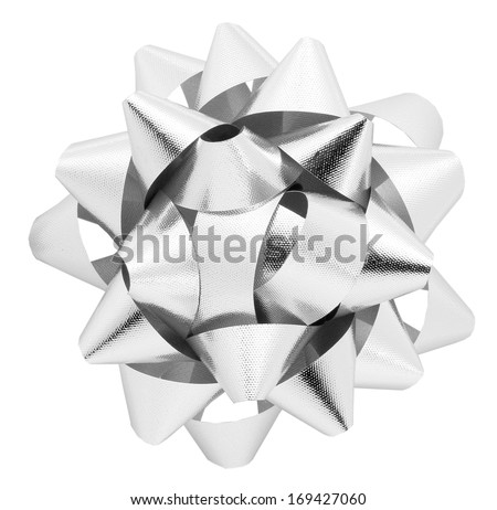 Silver bow isolated on white with clipping path - stock photo
