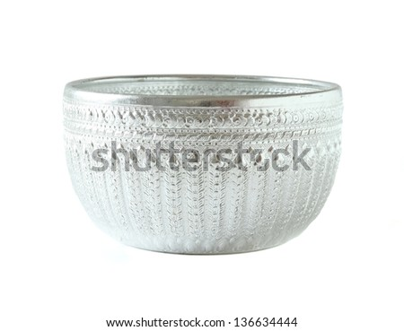 silver bowl isolated on white background - stock photo