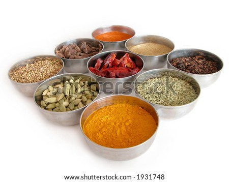 silver bowls of spices - stock photo