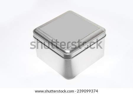 Silver box on isolated background. - stock photo