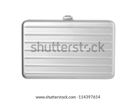 Silver briefcase isolated on white - stock photo