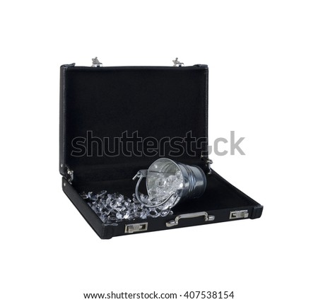 Silver Bucket of Spilled Diamonds in a Briefcase - path included - stock photo