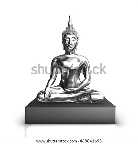 Silver Buddha statue  used as amulets of Buddhism religion, 3d render on white background