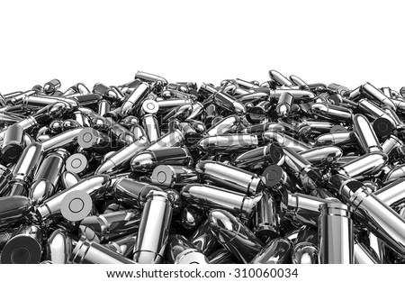 Silver bullets pile / 3D render of 9 mm bullets