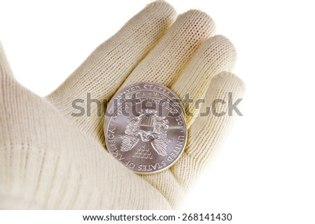 Silver bullion coin investment, American Eagle - stock photo
