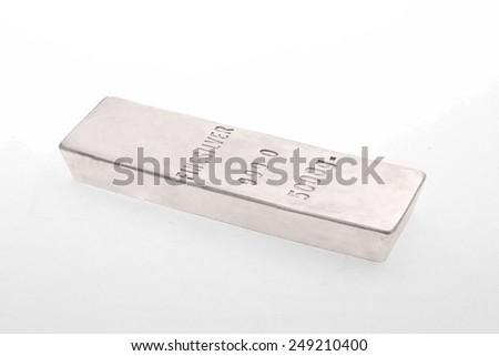 Silver bullion isolated - stock photo