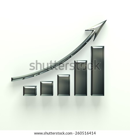 Silver business bar with up arrow - stock photo