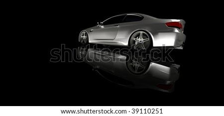 Silver business executive sports car / sportscar in studio isolated on black with reflection and copy space - stock photo