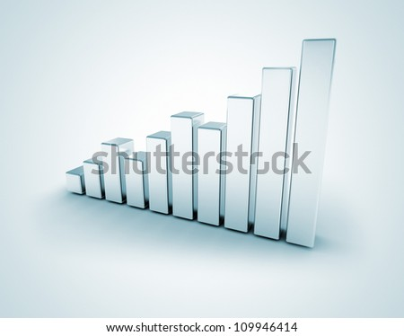 Silver business graph - stock photo
