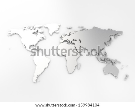 Silver business world map  - stock photo