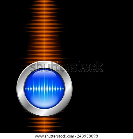 Silver button with sound or music waveform and orange wave - stock photo