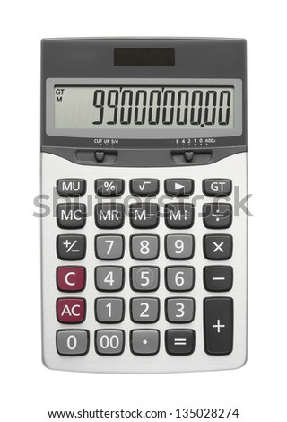 silver calculator on white background, isolated - stock photo