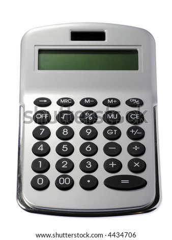 Silver Calculator With Green Display On A White Background